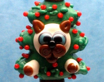 Made to order Margo lampwork beads Christmas tree cat