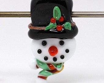 Made to order Margo lampwork beads Christmas snowman