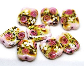 Made to order Margo lampwork beads floral rose(8)