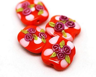Made to order Margo lampwork beads floral rose(4)