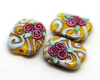 Made to order Margo lampwork beads floral rose(3)