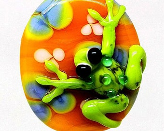 Made to order Margo lampwork beads frog