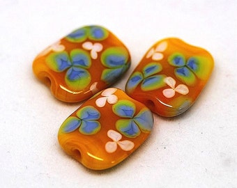 Made to order Margo lampwork beads floral yellow (3)