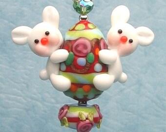 Made to order Margo lampwork beads Easter egg bunny (Randon egg color OOAK)