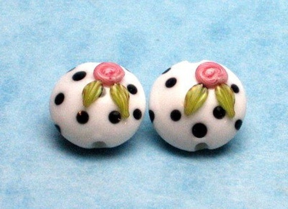 Made to order Margo lampwork beads white dots rose(2)