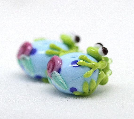 Made to order Margo lampwork beads frog earrings pair