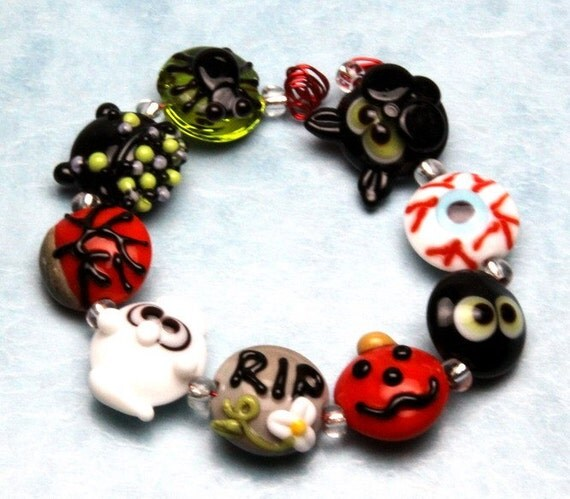 Made to order Margo lampwork beads halloween ghost cat set D(9)