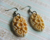 Floral Mustard Yellow and White Oval Earrings