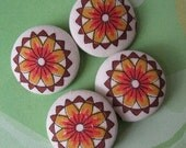 FOUR Fabric Covered Buttons    - Vintage Sunflowers