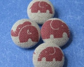 FOUR Fabric Covered Buttons        -  Pink Elephants