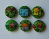 Six Fabric Covered Buttons - Home Sweet Home
