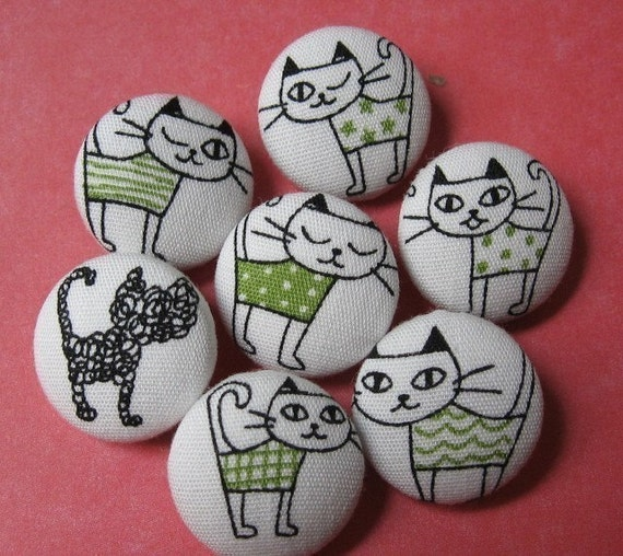 FOUR Fabric Covered Buttons  - Cats with Attitude