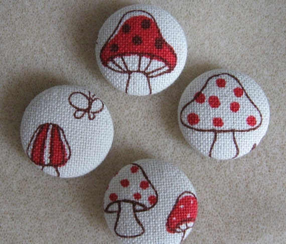 FOUR Fabric Covered Buttons        - Large Mushrooms