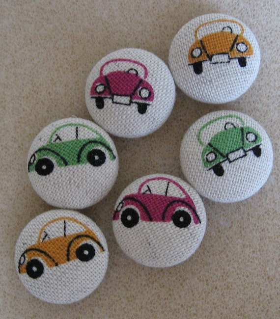 FOUR Fabric Covered Buttons        -  Slug Bugs