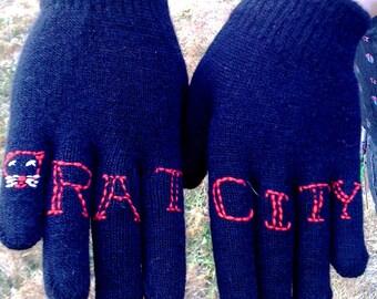 CUSTOM knuckle tattoo knit gloves in BLACK