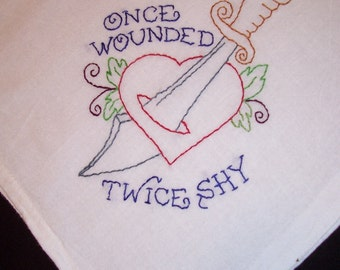 SALE!!! tattoo wounded heart Hand Embroidered towel