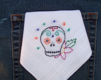 Mexican sugar skull hand embroidered hanky