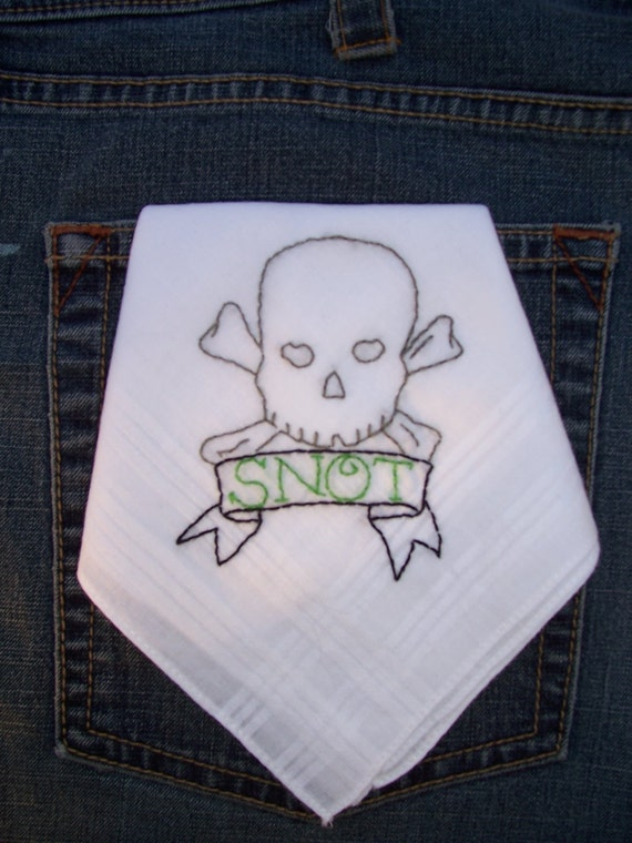 Skull and Bones tattoo hand embroidered hanky