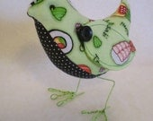 Sushi Tweet- lime green Japanese birdie with dots and checks