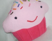 Happy CUPCAKE PILLOW in Cheery Cherry and pink-yummy