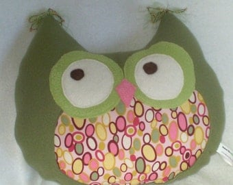Handmade Owl Pillow- greens and pinks-Olive and pinks- owlette- Hooty