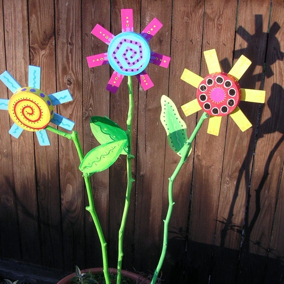 Whimsical Colorful Painted Wooden Flower Yard Art By
