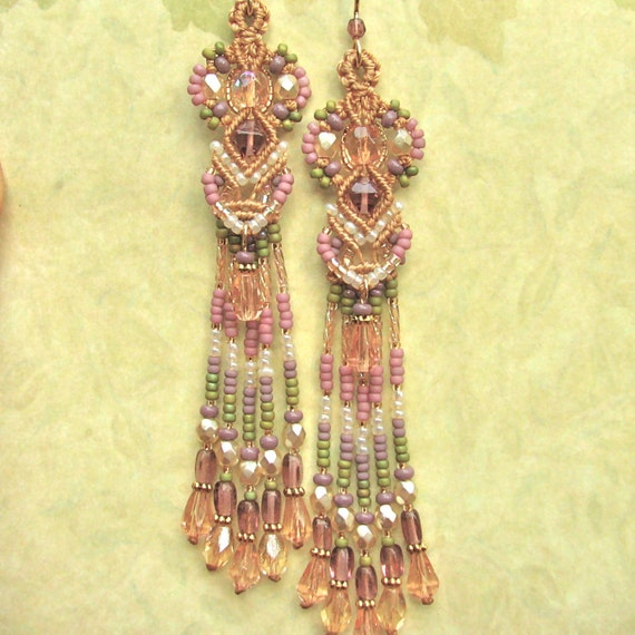 Beaded Macrame Earrings- Macrame and beads, Goddess style, Tapestry colors