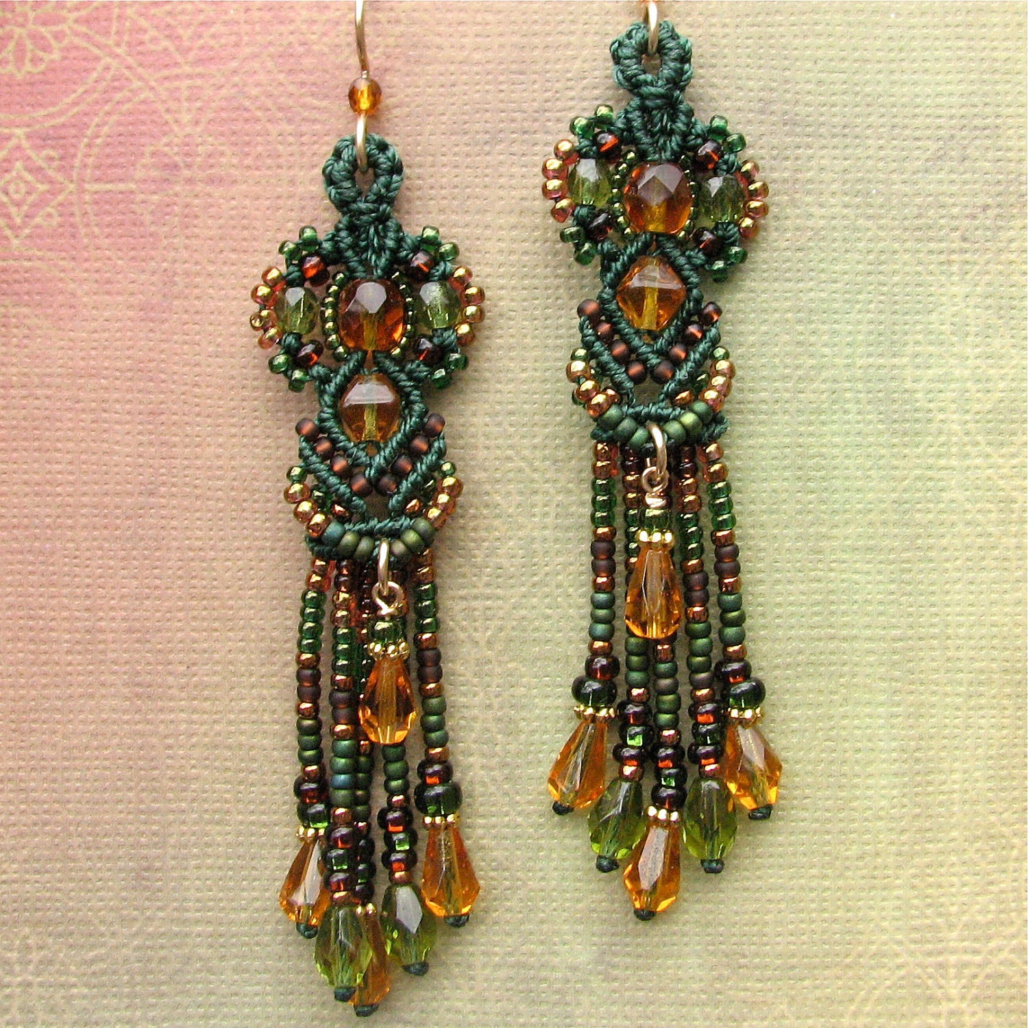 Long beaded earrings micro macrame by dancingglassbeadwork for Jewelry books free download