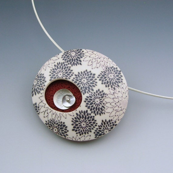 Mums in Red - polymer clay and sterling pendant necklace on silver neckwire