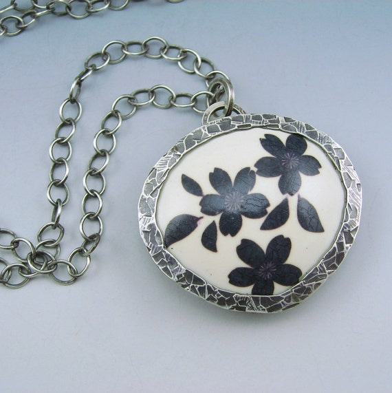 Silver framed polymer clay pendant necklace on oxidized sterling silver chain