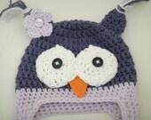 Baby Owl Earflap Hat Beanie Newborn