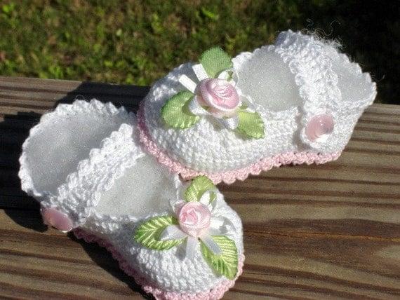 Crochet Thread Heirloom Baby Booties Mary Jane style
