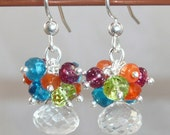 Sparkle - clear quartz, neon apatite, peridot, red spinel and carnelian sterling earrings