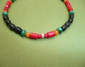 Burning Spear anklet - red coral, yellow jade, malachite, sterling silver