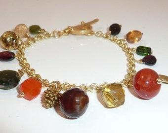 Fall Foliage - charm bracelet of foliage-inspired gemstones