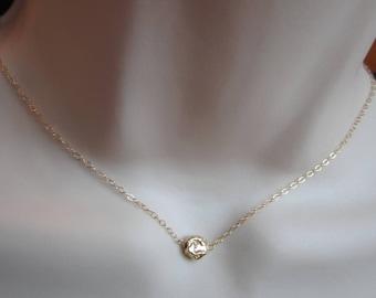 Gold vermeil little nugget solitare necklace