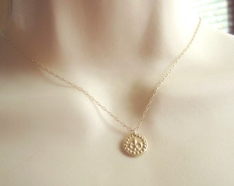 Fluer de lis on gold filled chain necklace 16 inches long