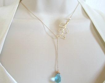 Swiss Blue Quartz pearl and branch lariat