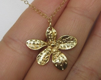 Asymetrical gold vermeil flower and gold filled chain necklace