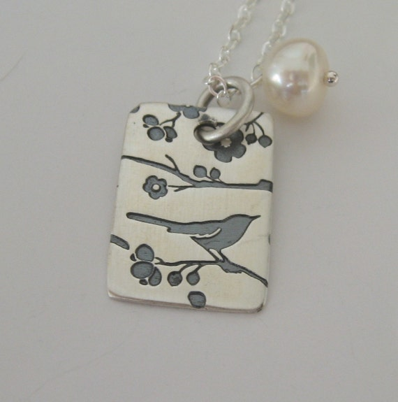 Sterling pendant with Songbird print and white pearl necklace