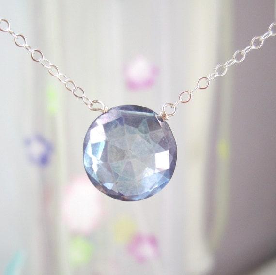 Large london blue quartz  faceted coin solitare necklace