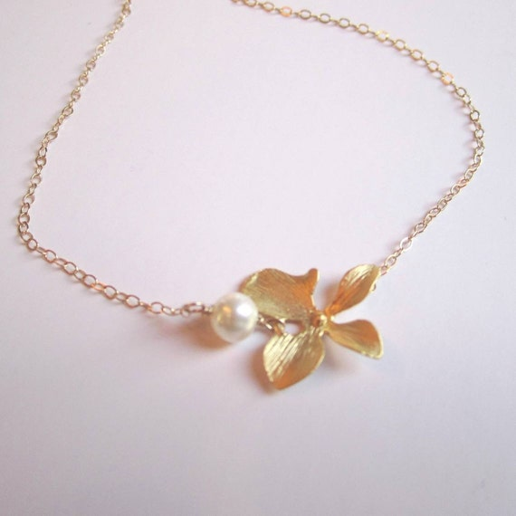 Simple feminine orchid and pearl pendant on 14k gold filled chain necklace