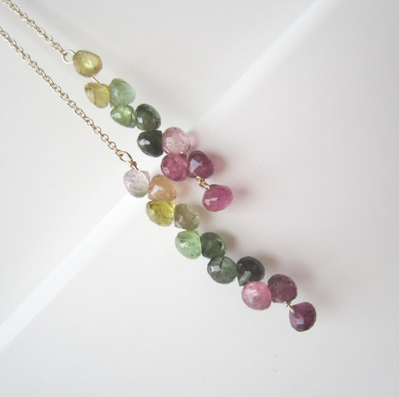 long necklace tourmaline gold filled lariat