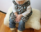 Sweet Little Dress - Retro Blue and Brown - 12M