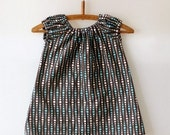 Sweet Little Dress - Modern Dots Blue and Brown -12M, 2T, 3T or 4T