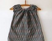 Sweet Little Dress - Modern Dots Blue and Brown -12M or 3T