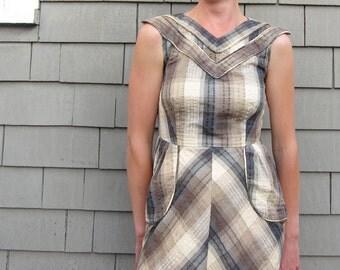 Plaid Dress in Brown, Medium or Large