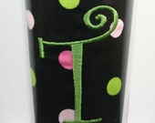 MLCB Stainless Travel Mug with Initial or Monogram - Black with Pink and Lime Polka Dots