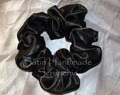 Black Satin Hair Scrunchie, Formal Hair Tie, Holiday, Special Event Ponytail Holder