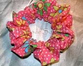 Trendy Retro Daisy Hair Scrunchie, Boutique Fashion Hair Tie, Fabric Ponytail Holder
